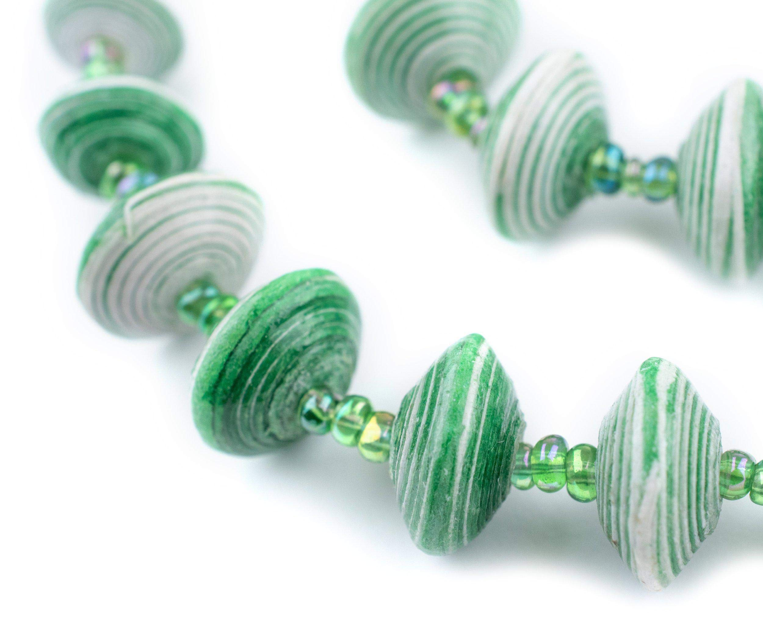 Recycled Paper Bead Necklace from Uganda - Fair Trade African Woman's Jewelry - Necklace with Clasp (Green & White Splotch)