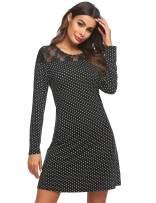 Ekouaer Womens Nightgowns Lace Trim Long Sleeve Sleepwear Polka Dots Sexy Sleepshirt Loungewear Dress for Sleeping