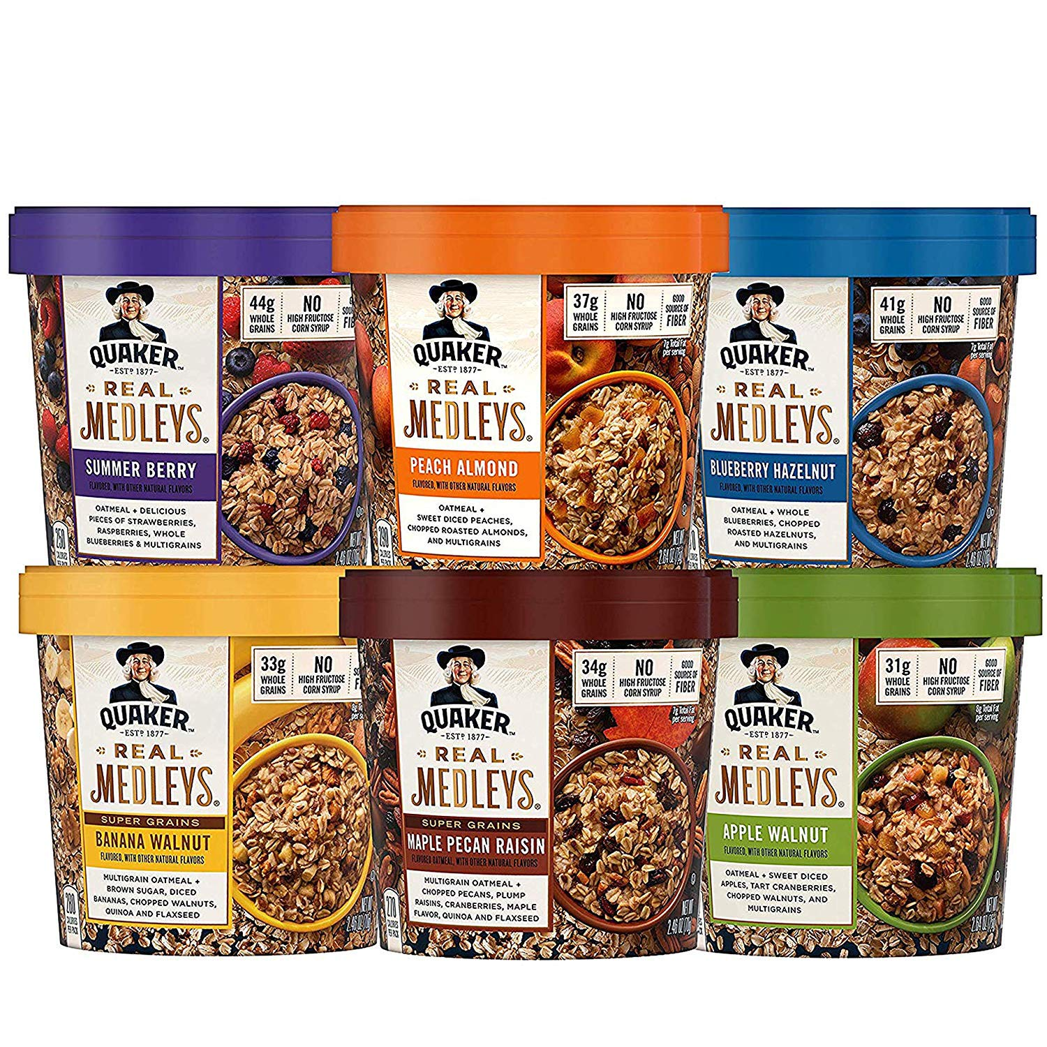 Quaker Real Medleys Oatmeal+, 6 Flavor Variety Pack, Oatmeal Cups, 12 Count