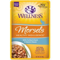Wellness Healthy Indulgence Natural Grain Free Wet Cat Food Pouches Morsels Turkey & Duck