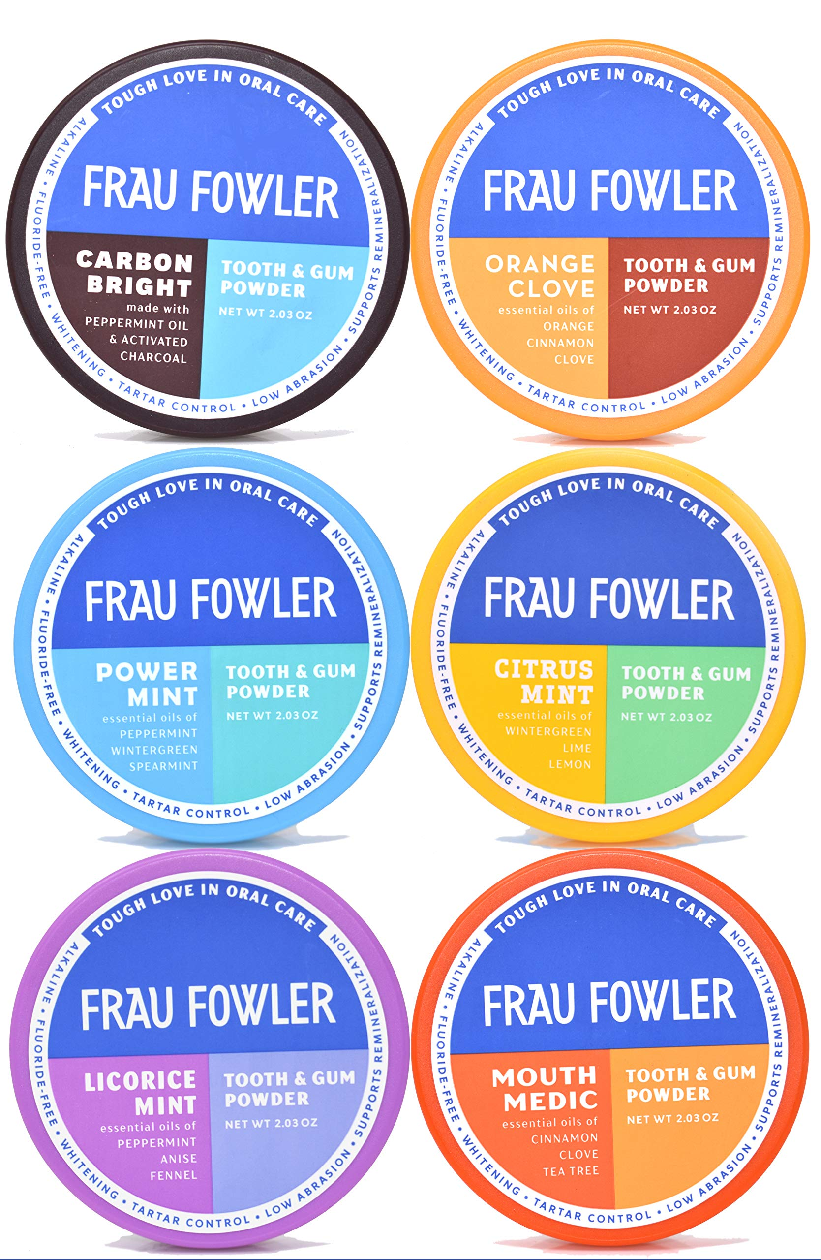Frau Fowler Natural Oral Care (Variety 6 Pack) - Get All The Fun Flavors- Power Mint, Orange Clove, Mouth Medic, Citrus Mint, Licorice Mint and Carbon Bright (Activated Charcoal), 12 oz