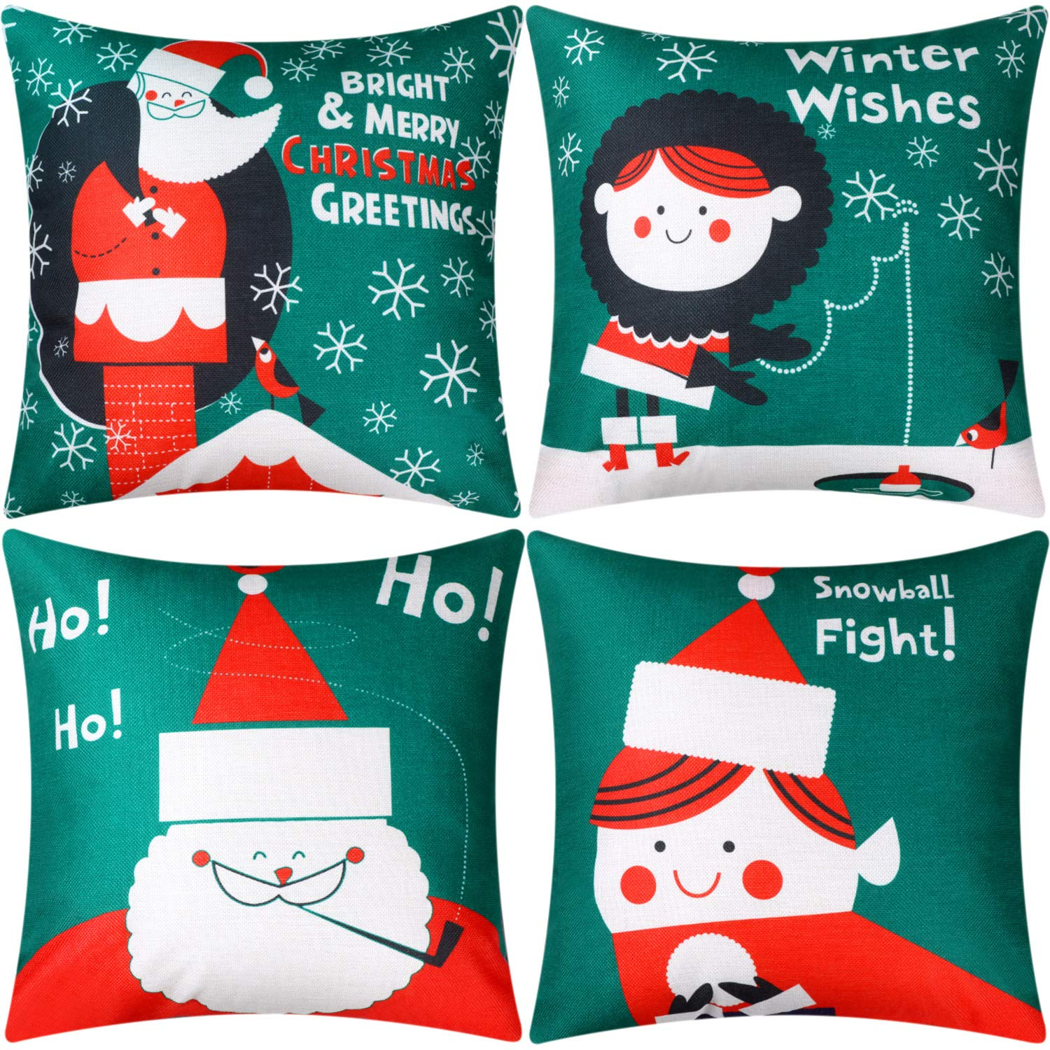 Jetec 4 Pieces Pillow Case Throw Cushion Cover Cotton Linen Pillow Decorations for Halloween Thanksgiving Christmas Autumn, 18 by 18 inch (Color Set 12)