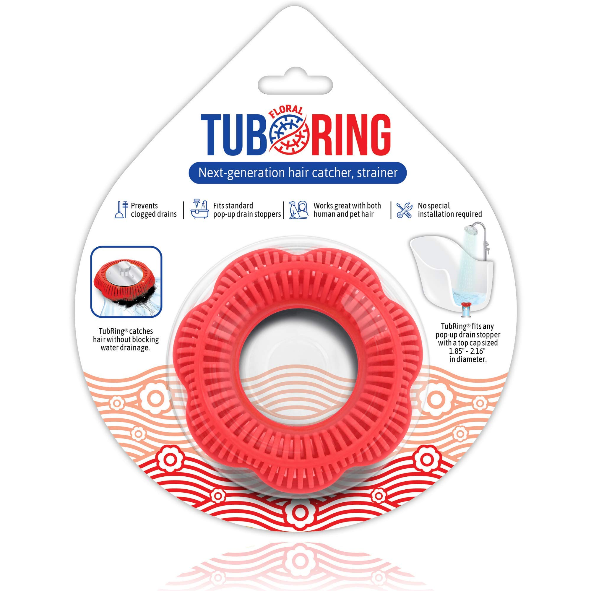 TubRing The Ultimate Tub Drain Protector Hair Catcher/Strainer/Snare, Floral - Red