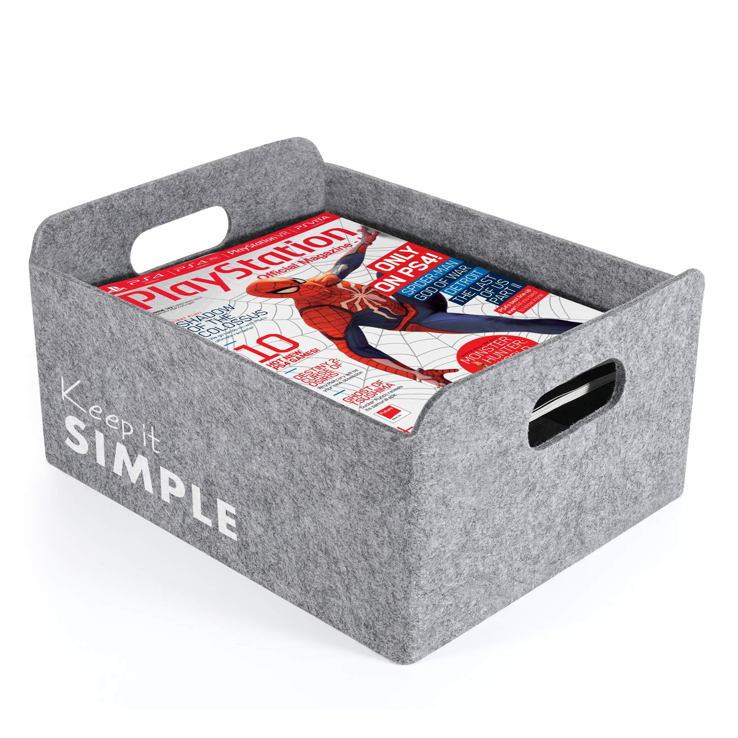 Welaxy Storage Baskets with Inspiring Quotes Felt Collapsible Storage Baskets Foldable Storage Cube Shelf Boxes Drawers Organizer bin for Kids Toys Books Clothes Motivational Gifts(Gray Simple)