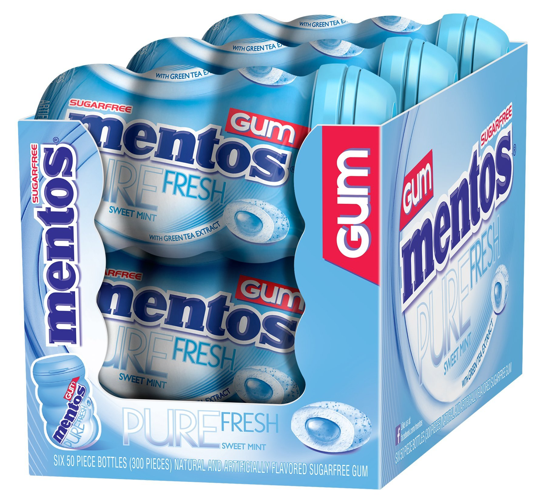 Mentos Pure Fresh Sugar-Free Chewing Gum with Xylitol, Sweet Mint, 50 Piece Bottle (Pack of 6)