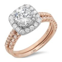 Clara Pucci 1.9 CT Round Cut Pave Halo Bridal Engagement Wedding Ring Band Set 14k Rose White Gold