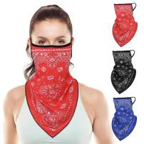 Rhino Valley Face Mask Bandanas with Ear Loops, [3 Pack] Neck Gaiter/Face Scarf/Neck Cover, Breathable Sun Protection, Washable Triangle Balaclava Headband for Outdoor Cycling