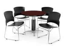 "OFM Core Collection Breakroom Bundle, 36"" Round Metal Mesh Base Multi-Purpose Table in Mahogany, 4 Multi-use Plastic Stack Chairs in Black (PKG-BRK-027-0010)"