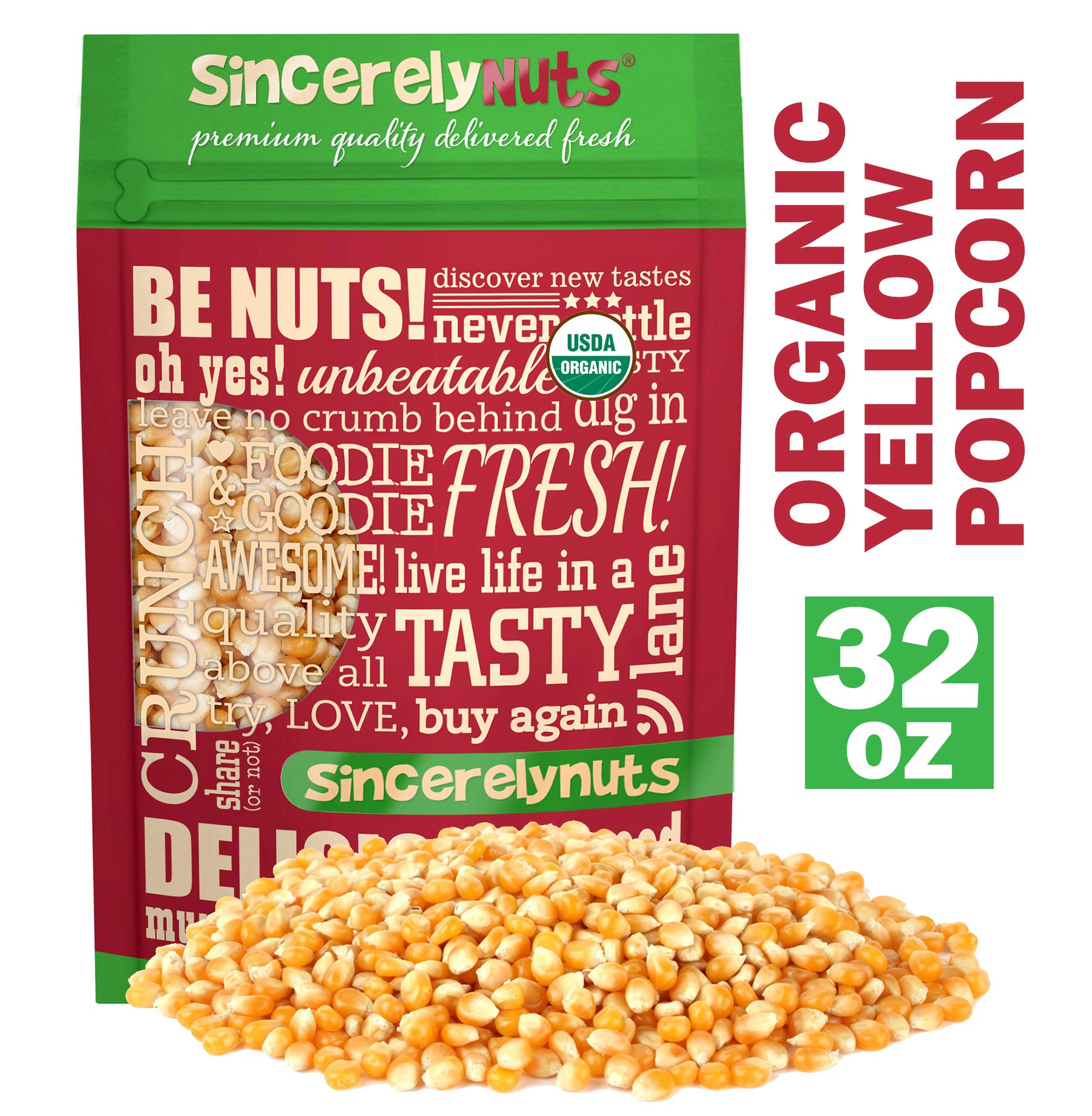 Sincerely Nuts Organic Popcorn Kernels - The Perfect, Healthy, Low-Calorie Snack Food-Nutritious and Delicious - Vegan, Kosher & Gluten-Free (2 LB)
