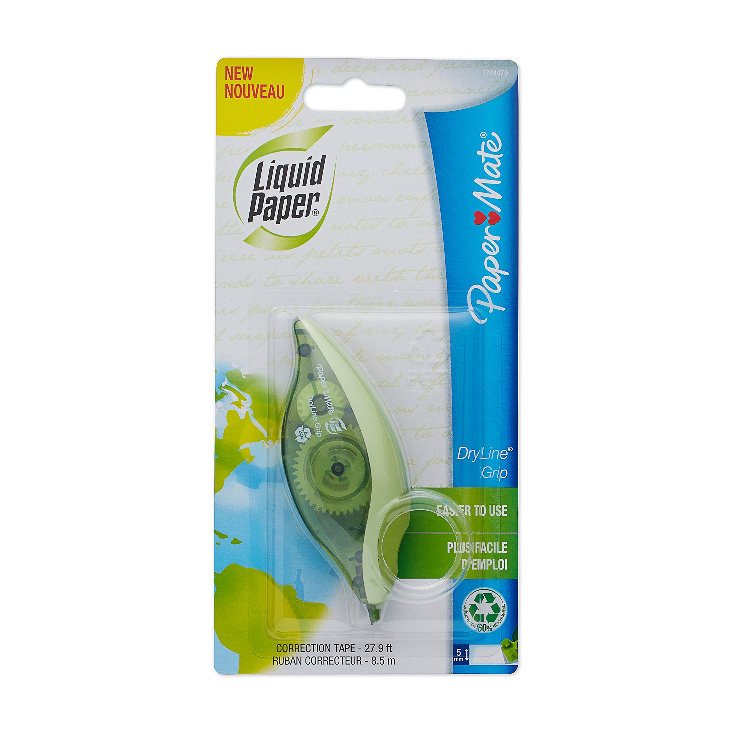 Paper Mate Liquid Paper DryLine Grip Correction Tape, Recycled, 1 Count
