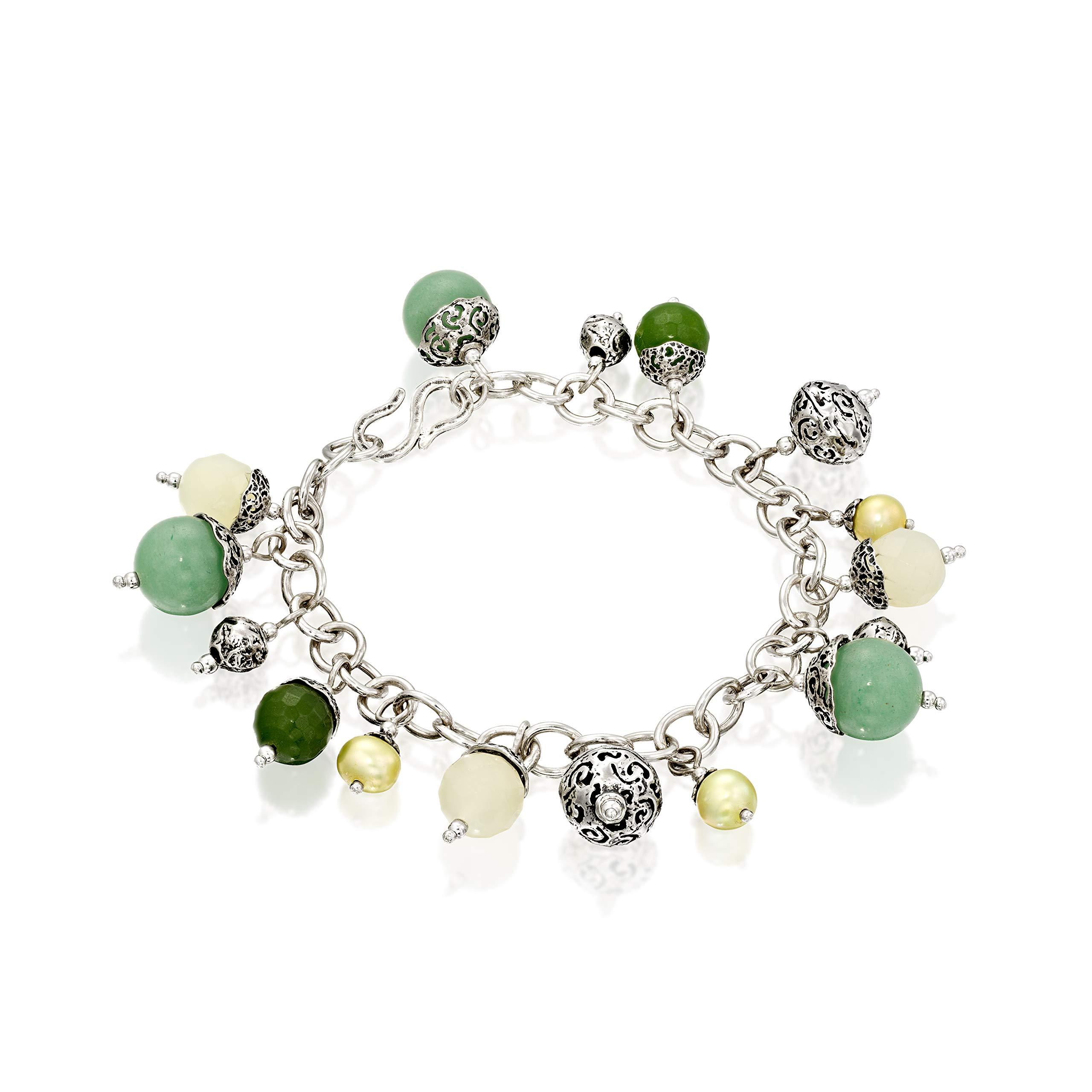 PZ Paz Creations .925 Sterling Silver Multi Gemstone Charm Bracelet
