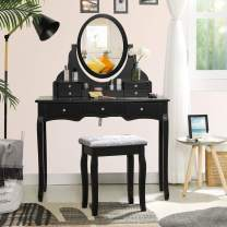 Tiptiper Makeup Vanity, Large Dressing Table with 7 Drawers and 1 Movable Organizer, Vanity Set with Cushioned Bench for Women, Black