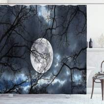 """Ambesonne Forest Shower Curtain, Full Moon at Night in Forest Winter Time Mystical Dramatic Days Lunar Photo, Cloth Fabric Bathroom Decor Set with Hooks, 70"""" Long, Yellow Black"""