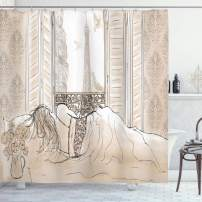 """Ambesonne Paris Shower Curtain, Parisian Woman Sleeping with The View of Eiffiel Tower from Window Romance Skecthy Modern, Cloth Fabric Bathroom Decor Set with Hooks, 70"""" Long, Cream"""