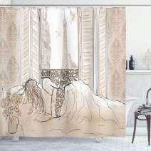 """Ambesonne Paris Shower Curtain, Parisian Woman Sleeping with The View of Eiffiel Tower from Window Romance Skecthy Modern, Cloth Fabric Bathroom Decor Set with Hooks, 75"""" Long, Cream"""