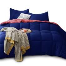 Kasentex All Season Down Alternative Quilted Comforter Set - Reversible Duvet Insert Hypoallergenic - Machine Washable (Navy/Coral, Queen Set)