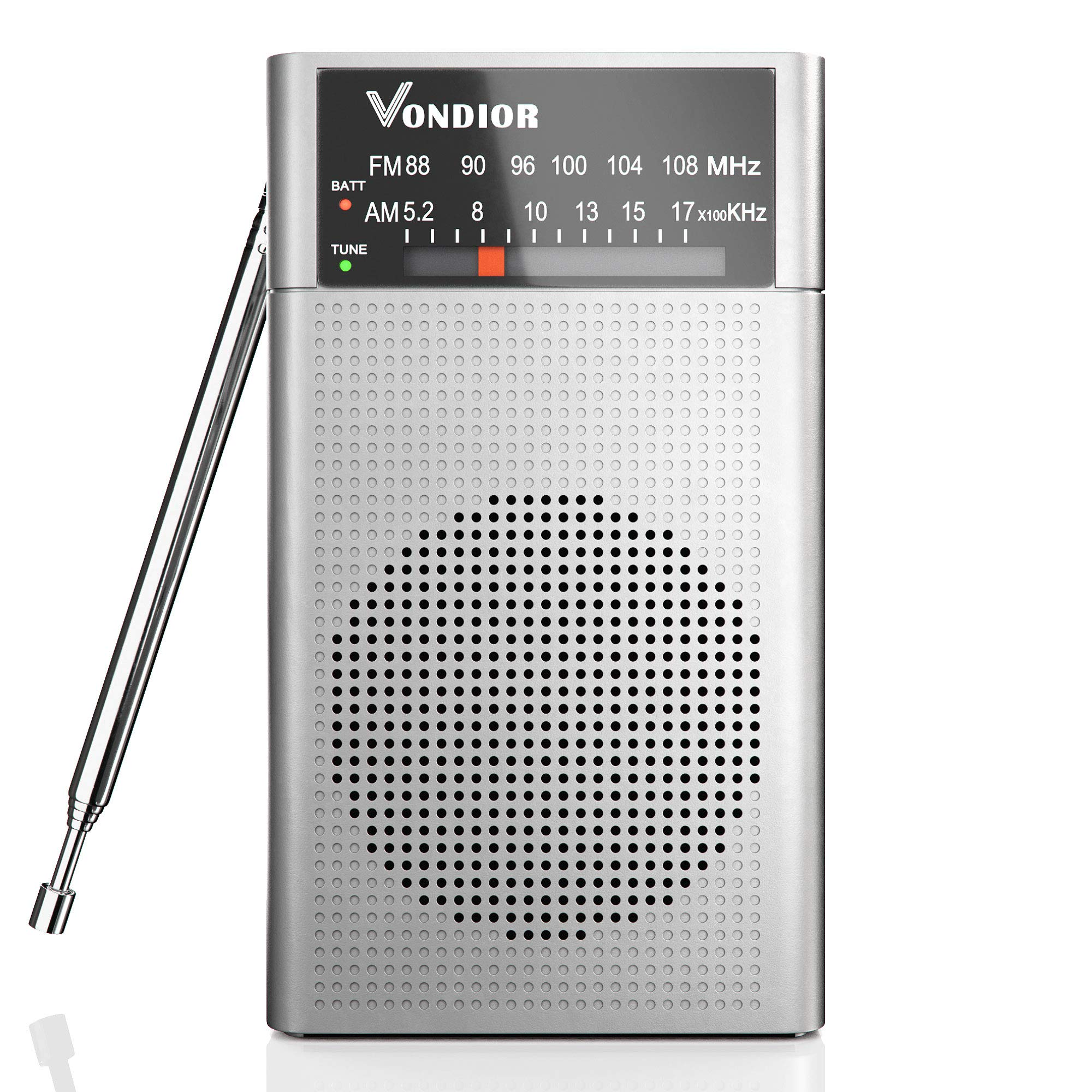 Transistor Radios Portable Battery Operated - Best Reception and Longest Lasting. AM FM Radio Operated by 2 AA Battery, Mono Headphone Socket, by Vondior (Silver)