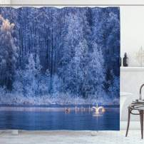 "Ambesonne Winter Shower Curtain, Swans Swimming Lake Dusk Forest Dramatic Idyllic Nature ICY Snowy Weather Rural Scene, Cloth Fabric Bathroom Decor Set with Hooks, 70"" Long, Blue"