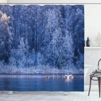 """Ambesonne Winter Shower Curtain, Swans Swimming Lake Dusk Forest Dramatic Idyllic Nature ICY Snowy Weather Rural Scene, Cloth Fabric Bathroom Decor Set with Hooks, 75"""" Long, Blue"""