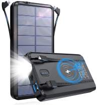 PSOOO Solar Charger Power Bank Wireless Charging Camping High Capacity with 2 Cable 20000mAh Waterproof Battery Flashlight Lights Portable Fast Charging for Laptops Android Tablets(Black)