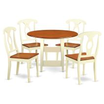 5 Piece Sudbury Set With One Round Dinette Table And 4 Dinette Chairs With Wood Seat In A Warm Buttermilk and Cherry Finish.