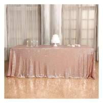 Poise3EHome 72×108'' Rectangle Sequin Tablecloth for Party Cake Dessert Table Exhibition Events, Rose Gold