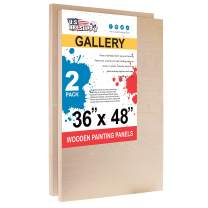 """U.S. Art Supply 36"""" x 48"""" Birch Wood Paint Pouring Panel Boards, Gallery 1-1/2"""" Deep Cradle (Pack of 2) - Artist Depth Wooden Wall Canvases - Painting Mixed-Media Craft, Acrylic, Oil, Epoxy Pouring"""