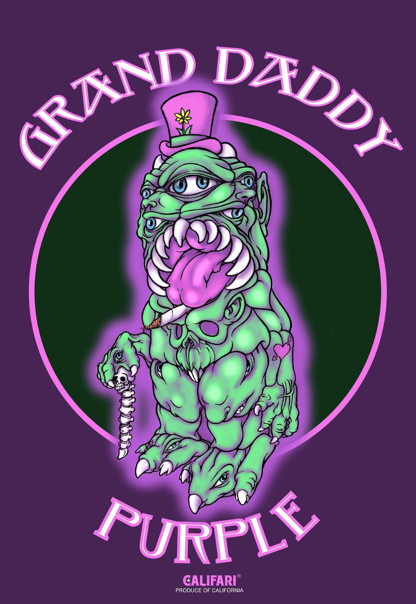 "Califari Grand Daddy Purple - Vivid Strain Art Wall Poster, Decor for a Home, Dorm, Store, Dispensary, or Smoke Shop - 13"" x 19"" Lithograph Print"
