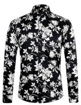 APTRO Men's Floral Shirt Slim Fit Casual Long Sleeve Shirt