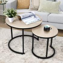amzdeal Coffee Table for Living Room, Set of 2 Nesting Side Coffee Tables, Stable and Easy Assembly, Premium Chipboard Table Top with Metal Frame - Natural Color