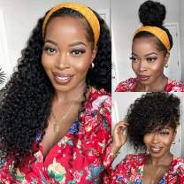 Headband Wig Deep Wave Human Hair Wigs Brazilian Hair None Lace Front Wigs for Black Women 150% Density Natural Color 16inch