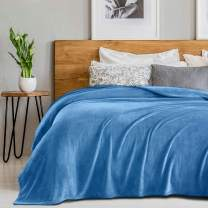 SEDONA HOUSE Flannel Plush Fleece Blanket Twin Size Teal Color - Luxury Microfiber Flannel Material Super Soft Warm Cozy Lightweight Blanket for Bed Couch or Car