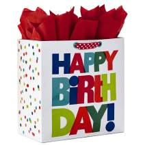 """Hallmark 15"""" Extra Large Birthday Gift Bag with Tissue Paper (White with Multicolored Happy Birthday Lettering)"""