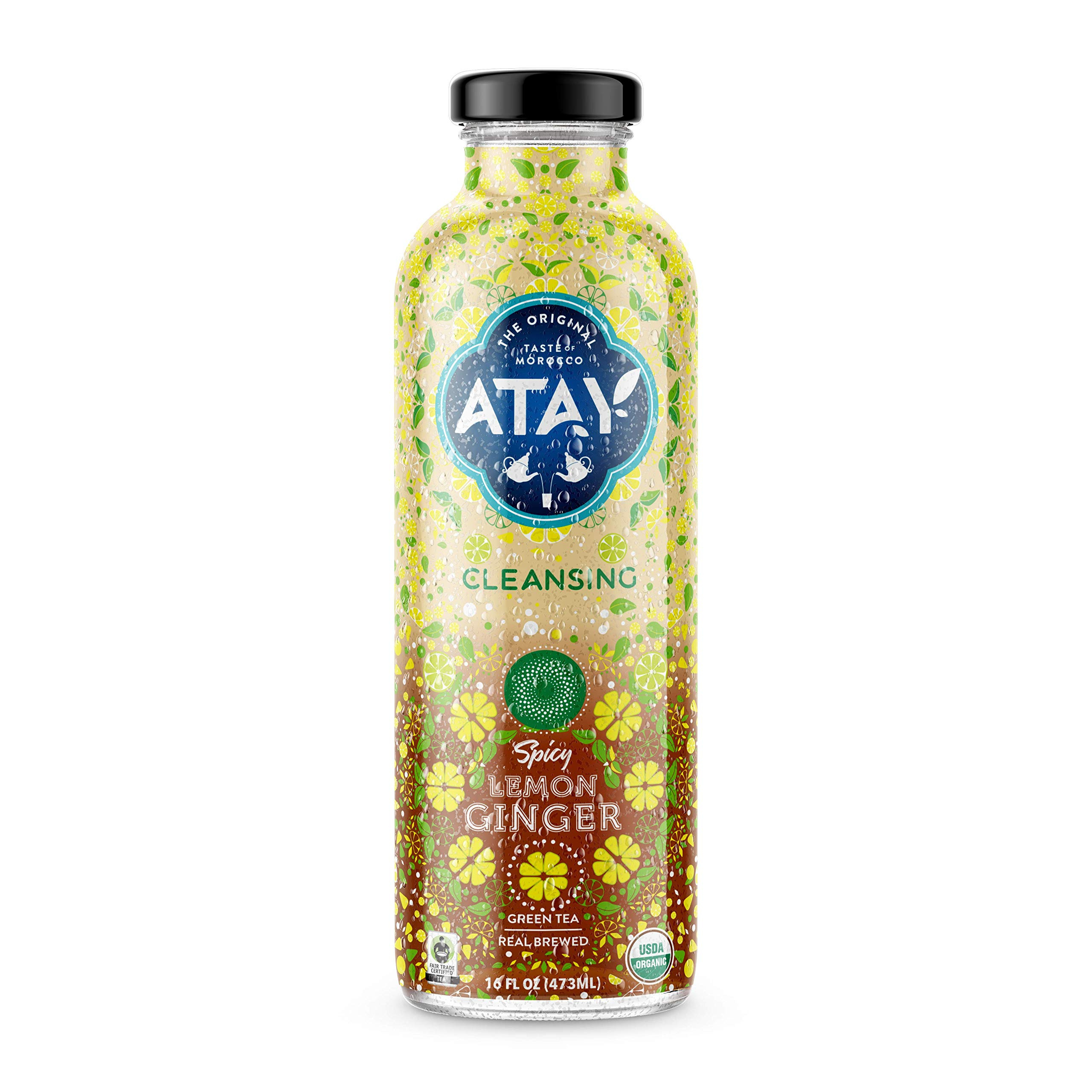 ATAY Moroccan Organic Lemon Ginger Iced Tea - Made With Organic Pure Green Tea And All-Natural Organic Stevia Leaf Extract For A Delicious and Subtle Sweet Flavor - 16 Oz, 8 Pack