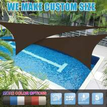Amgo Custom Size Right Triangle 7' x 10' x 12.2' Brown Triangle Sun Shade Sail Canopy Awning ATAPT24, 95% UV Blockage, Water & Air Permeable, Commercial and Residential (Available for Custom Sizes)