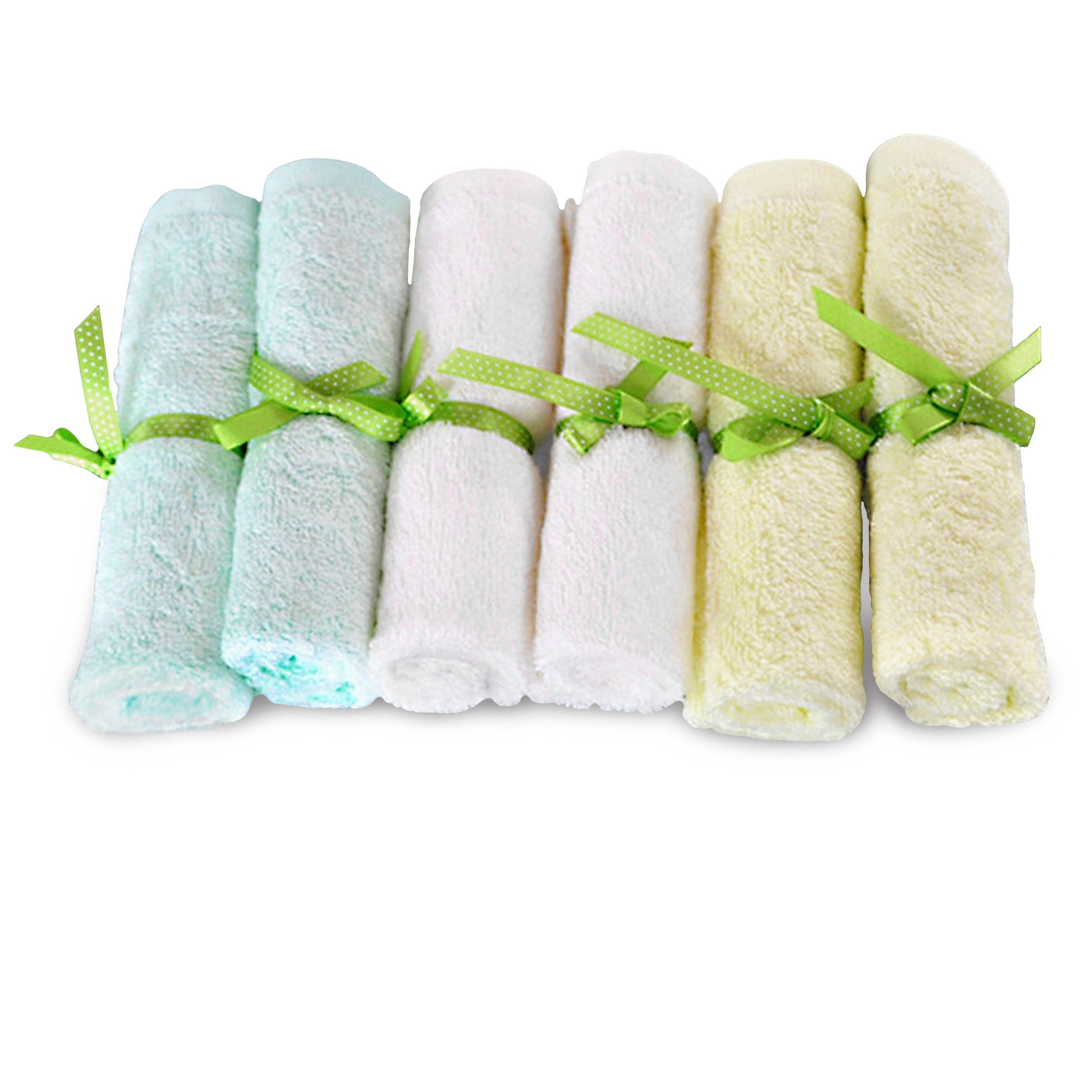 Brooklyn Bamboo   Baby Washcloth Wipes   Extremely Soft & Absorbent   Extra Durable & Hypoallergenic   6 Pack Set   10 x 10 Inches   Assorted Colors