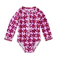 Tea Collection Rash Guard Long Sleeve One Piece Swimwear, Girls, Lanai Geo Floral