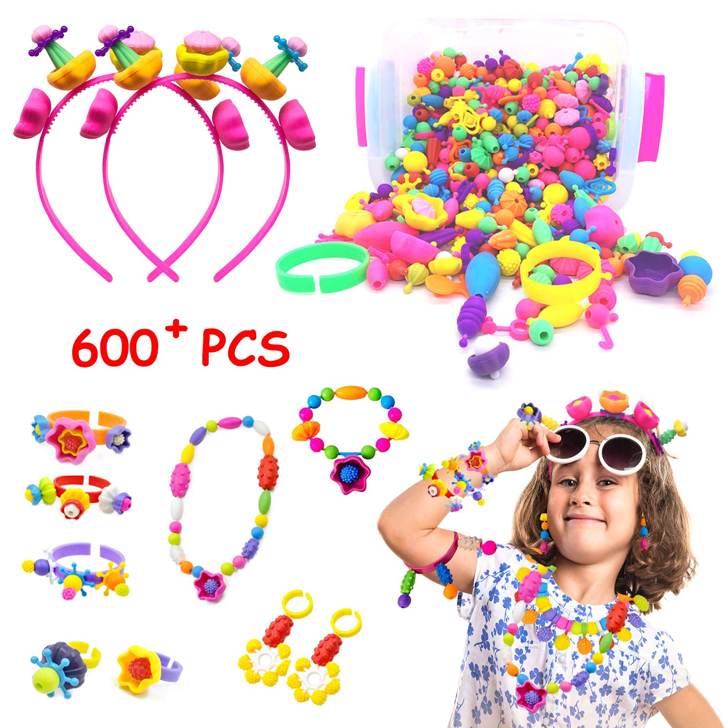MALOMME Pop Beads, 600+ Pcs Kids Jewelry Making Kit Girls DIY Snap Pop Beads Toys for Kids Toddlers Art & Craft Kits Pop Arty Friendship Bracelets Necklaces Rings Toy Gift for Age 3 4 5 6 7 8 9 Years