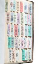 DiverseBee Laminated Bible Tabs (Large Print, Easy to Read), Personalized Bible Journaling Tabs, 66 Book Tabs and 14 Blank Tabs - Uniform Theme