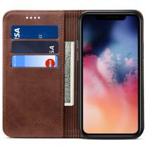 FLY HAWK Wallet Case for 2019 iPhone 11 Pro, Kickstand Magnetic PU Leather Folio Flip Cover ID Credit Card Holder, 5.8 inches, Brown