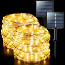 JMEXSUSS 2 Pack 100 LED Solar Rope Lights,33ft 8 Modes Solar Rope Lights Outdoor Waterproof LED Solar Powered Rope Tube for Fence,Gazebo,Yard,Walkway,Path(Warm White)