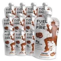 Fuel For Fire - Coffee (12 Pack) Fruit & Protein Smoothie Squeeze Pouch | Perfect for Workouts, Kids, Snacking - Gluten Free, Soy Free, Kosher (4.5 ounce pouches)