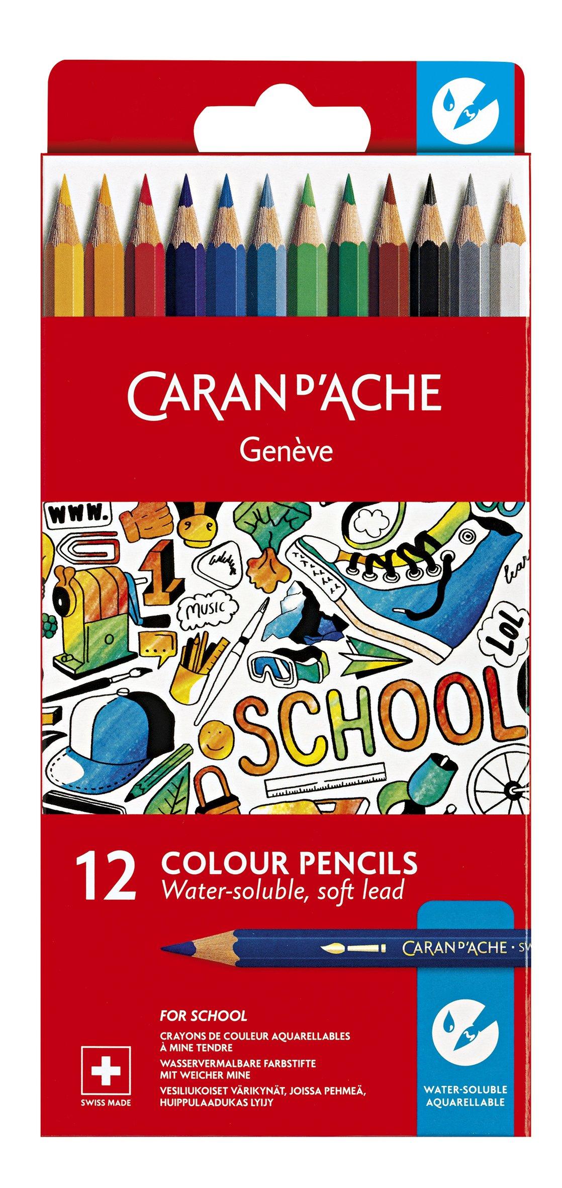 Caran d'Ache School Line Water-soluble Color Pencils, 12 Colors