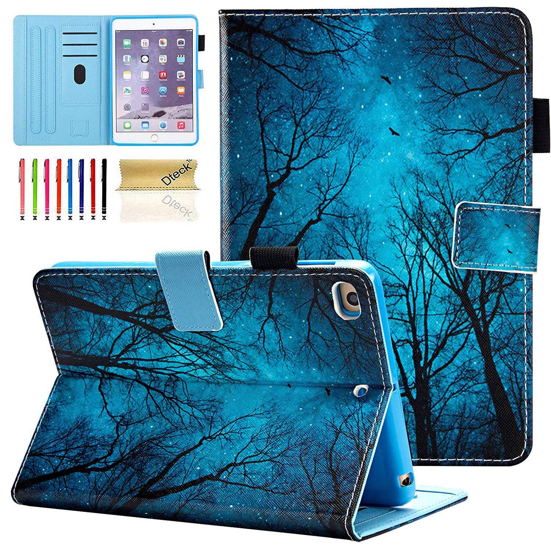 Dteck iPad Mini 1/2/3/4/5 Case - Slim Fit Premium PU Leather [Multi-Angle View] Folio Stand Wallet Cover with Auto Wake/Sleep Smart for Apple iPad Mini 1/Mini 2/Mini 3/Mini 4, Forest Night
