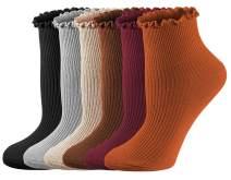 Womens Socks, Ruffle Turn-Cuff Cute Ankle Crew Low Cut Casual Socks Knit Cotton Lettuce Dress Socks For Women