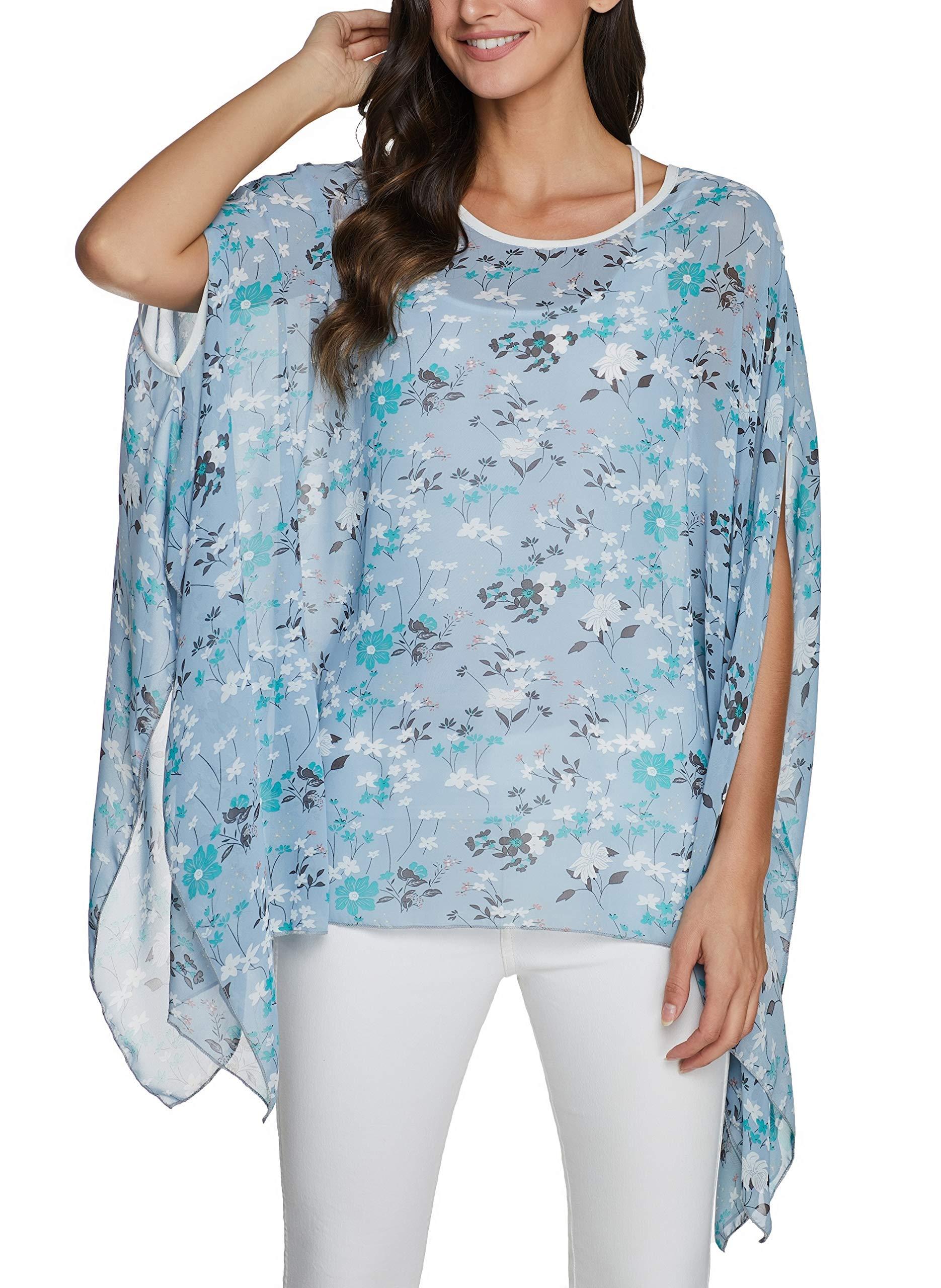 iNewbetter Women's Chiffon Caftan Poncho Tunic Top Cover up Shirt Scarf Top
