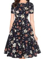 oxiuly Women's Vintage Half Sleeve O-Neck Contrast Casual Pockets Party Swing Dress OX253