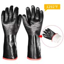 iHarbort long Protective Grill Gloves, 1 Pair, 1292℉ Heat Resistant BBQ Oven Gloves, Fire&Oil Resistant Waterproof Kitchen Mitts Potholders For Cooking, Grill, Barbecue, Frying, Baking, 14 Inch / 35cm