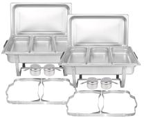 TigerChef Chafing Dish Buffet Set - Chaffing Dishes Stainless Steel - 2 Sets of Chafer and Buffet Warmer Set with Third Size Steam Pans and Folding Frame - Food Warmers for Parties Buffets