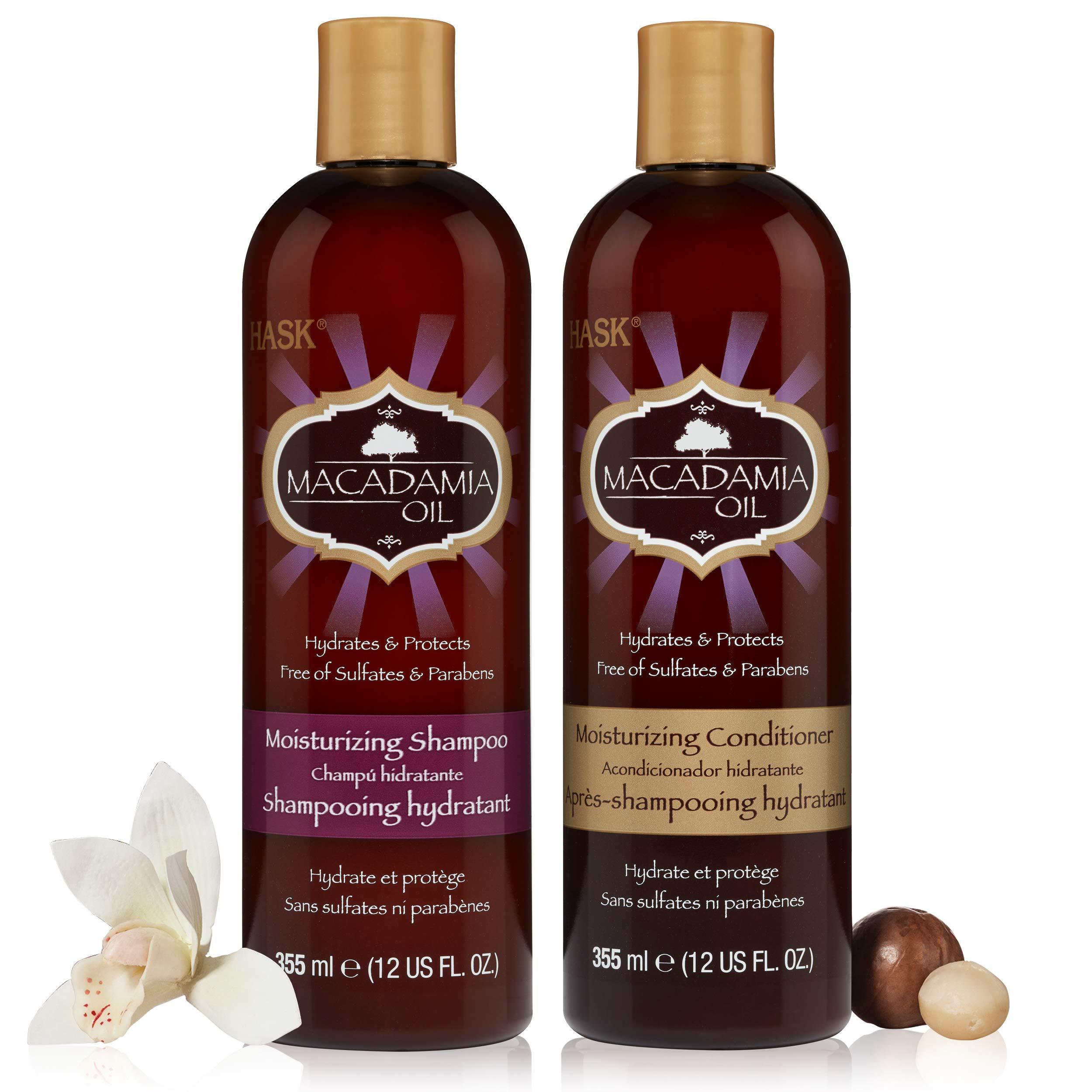 HASK MACADAMIA OIL Shampoo and Conditioner Set Moisturizing - Color safe, gluten-free, sulfate-free, paraben-free - 1 Shampoo and 1 Conditioner